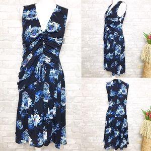 NWOT Halogen Blue Sleeveless Floral Dress S Petite